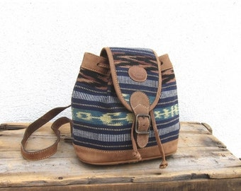 15% Off Out Of Town SALE 90s Mini Backpack Hipster Boho Guatemalan Vintage Woven Cotton and Leather Ethnic Small Rucksack