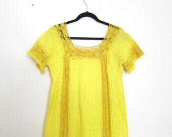 Mexican Wedding Maxi Long Dress Lemmon Yellow Cotton Ladies Size M
