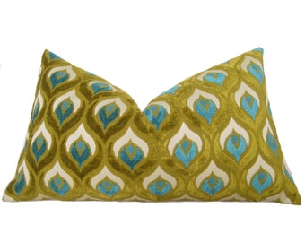Peacock Cut Velvet Pillow Cover - Turquoise - Chartreuse - Decorative Pillow - Designer Pillow - Throw Pillow - Velvet Pillow - Turquoise