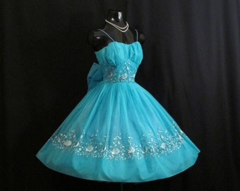 Vintage 1950's 50s Turquoise BLUE Embroidered Chiffon Organza Party Prom Wedding Dress Gown
