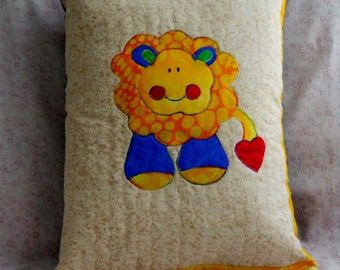 Kids Lion Zoo Pillow in Red Yellow and Blue