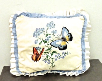 SALE vintage butterfly throw pillow - 1960s-70s ruffled pillow