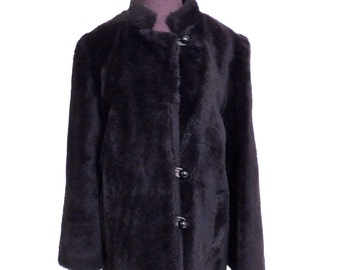 SALE vintage black faux fur coat - 1960s mod black fur jacket