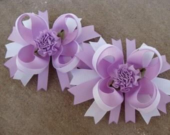 Lavender Purple and White Boutique Hair Bows - Mini Boutique Hair Bow Set - Pigtail Hair Bow Set of 2 MTM