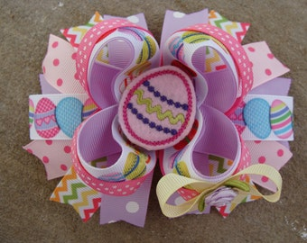 Easter Hair Bow - Large boutique Bow - Pastel Easter Eggs hair bow embridered egg hair bow