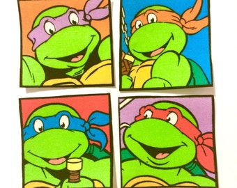 Teenage Mutant Ninja Turtles square iron on applique set of 4 pop art style appliques