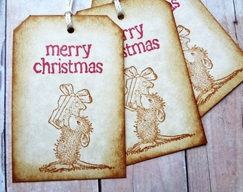 Christmas Mouse Gift Tags Rustic Vintage Style Woodland Mice