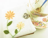 Tea Bag Wallet Peach Flowers with Silver Woman Cameo Button