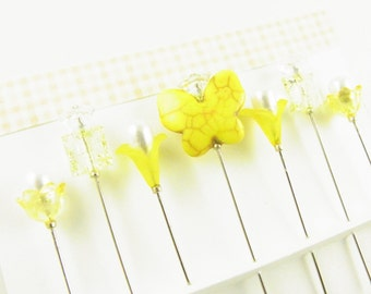 Decorative Sewing Pins in Yellow, Butterfly with Flowers