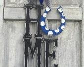 Horseshoe HOME Door hanger, Home door hanger, Horseshoe Door hanger, Home Welcome sign, Home and horseshoe sign, Derby door hanger