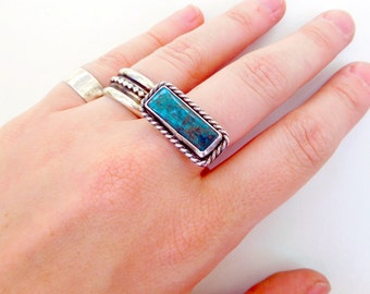 Turquoise Rectangle Ring - Made to order - Sterling Silver