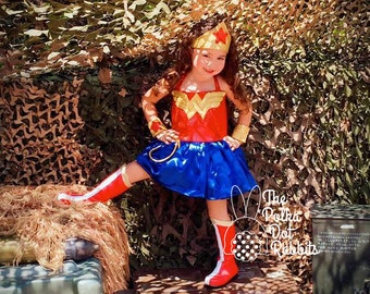 Toddler-Girls Wonder Woman 5 Piece Dress Costume OOC Pageant, Sparkle Top, Satin Skirt, Gold Headpiece & Cuffs, Bloomer, Size 12 mo thru 8