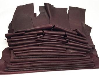 25 Scrap Leather Remnants Maroon Italian Leather Cowhide Scraps