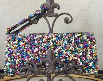 "Beads and Sequin Clutch Bags, Multi Color Sequin, by Erik & Mike, 9"" wide"