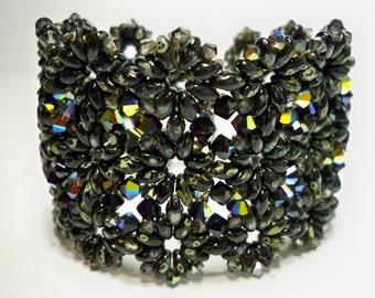 Black Swarovski Bracelet Cuff