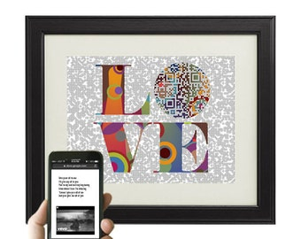 All of Me / John Legend - LOVE - personalized paper anniversary gift for him - custom first dance song QR code lyric print, spring wedding