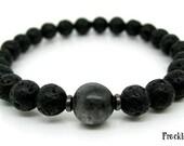 Mens Bracelet - Black Moonstone, Lava Stone, Mala Bracelet, Meditation Beads  - Gothic