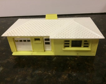 Vintage Plasticville One Story Yellow and White House