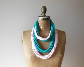 Fiber Necklace T-Shirt Necklace Scarf Necklace Womens Scarves Fashion Necklace Cotton Necklace Spring Accessory ohzie