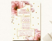 Girls First Birthday Invitation Boho Chic Gold Dot Watercolor Flowers Floral One Shape Typography