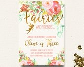 Fairy Birthday Invitation Floral Boho Chic Gold Girls Roses Flower Invite
