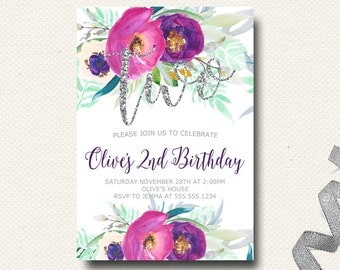First Birthday Invitation Floral Purple Silver Flowers