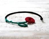 Barbed Rose Necklace, Crochet Flower Choker