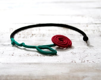 Barbed Rose Necklace, Crochet Flower Choker