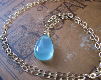 Gold and Blue Necklace Caribbean Blue Green Chalcedony Gold Filled Wire Wrapped Gemstone Necklace