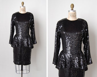 vintage 1980s dress / black sequin dress / peplum dress / All Tomorrows Parties dress