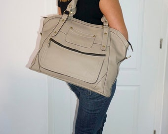 "Taupe Leather Tote Bag // Cross-body Travel Weekender Bag Bag Magui BIS extra large, fits a 17"" laptop"