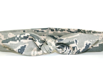 ABU Air Force Adult Headband with Tie Hairbow Military Tiger Stripe Camo