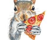 Squirrel Watercolor PRINT - 5x7 Squirrel Art, Nursery Decor, Food Art, Pizza, Watercolour Painting