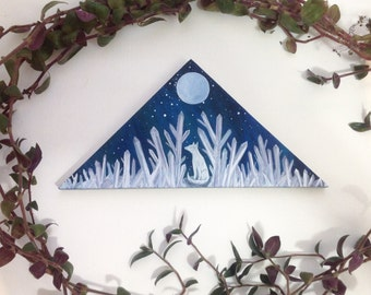 original Painting on wood, arctic fox and amethyst crystals