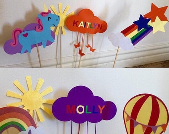 Rainbow party decorations - kids party - personalized party decor - rainbow birthday party - unicorn party - personalized rainbow unicorn