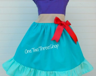 Little Mermaid Ariel Inspired Jumper Dress Custom Boutique Clothing