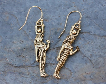 Egyptian Goddess Earrings- 18k gold plated pewter Isis Charms, 14k gold filled earwires - Made in USA - free shipping in USA