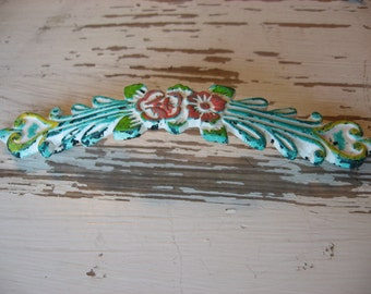 """Floral Drawer Pull Traditional Classic Shabby Farmhouse Victorian Style Distressed White Turquoise Blue Yellow Coral 4 3/4"""" Centers  B-33"""