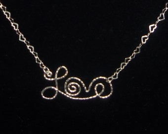 Wire Written Love Necklace, Diamond Cut Sterling Silver LOVE Necklace With Tiny Heart Chain, 20 Inches Long