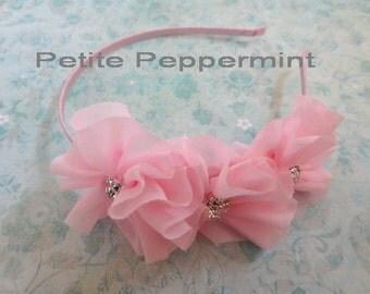 Pink Baby Flower Headband, Toddler Hard Headband, Girl Headband, Girl Flower Headband, Toddler Headband Flower, Plastic Headband