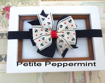 Nautical Bow Baby Headband, Baby Head Band, Baby Hair Bow, Infant Headband, Toddler Headband, Girl Headband, Navy Blue Baby headband bow