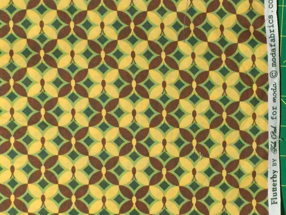 Tula Pink Flutterby Geo Butterfly yellow/olive moda fabric FQ or more