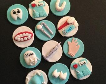 Dental Dentist Fondant Cupcake, Cake, Cookie Toppers. Set includes 12 (one dozen)