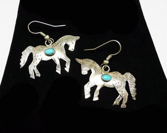 Fatoya Yazzie Horse Earrings for Pierced Ears - Sterling Silver - Dangling Pony Embellished with Oval Tuquosie and Signed Sterling FY