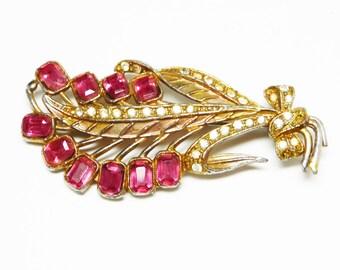 Vintage Rhinestone Flower Brooch - Pink Rhinestone Flowers - 1930's Art Deco Goldtone Pin - Early Century Vintage Jewelry