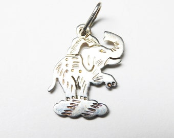 Unicorn Circus Elephant Charm - Silver Vintage Charm - Charms for Bracelet - Sterling Silver Signed 925