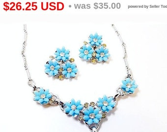 Lucite Blue Flower Necklace and Earrings Vintage Set with Rhinestones