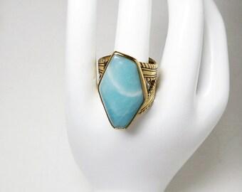 Barse Modernist Ring - Jade Blue Retro Signed Ring - Designer Signed Barse Gemstone Statement Jewelry - 1980's 1990's Era