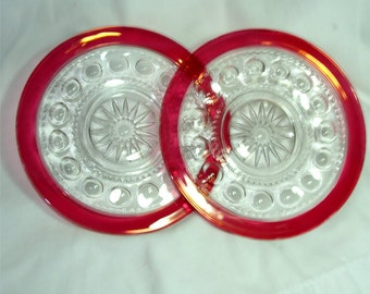 Pair 1950's TIFFIN Glass Co. KING'S CROWN Ruby Flashed Glass Plates