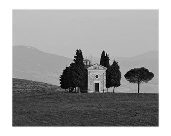 """Fine Art Black & White Photography of Landscape in Tuscany - """"Chapel in the Tuscan Landscape"""""""